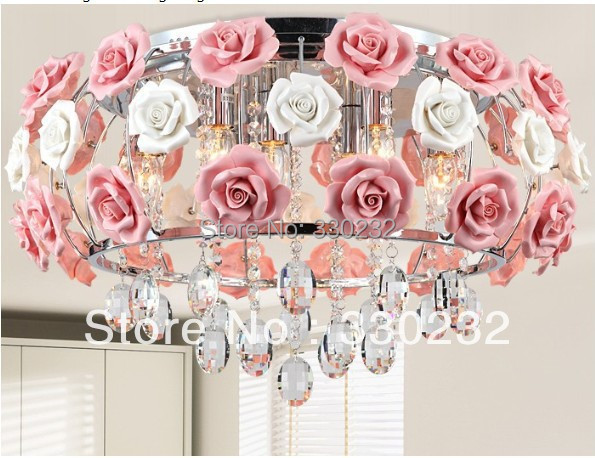 Modern flower shape glass crystal chandelier restaurant light roses shaped lamp shade Dia 480MM Free shipping romantic lighting(China (Mainland))