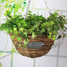 Pastoral Rattan Hanging Flower Basket Vase Plant Artificial Flower Container Home Office Wedding Decor Wickered collocation (China (Mainland))