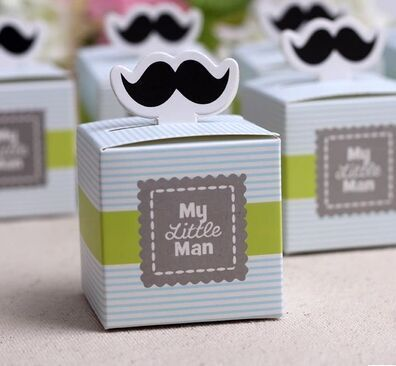 10pc my little man moustache favor box baby shower favor candy box gift box kids children birthday party favor box(China (Mainland))