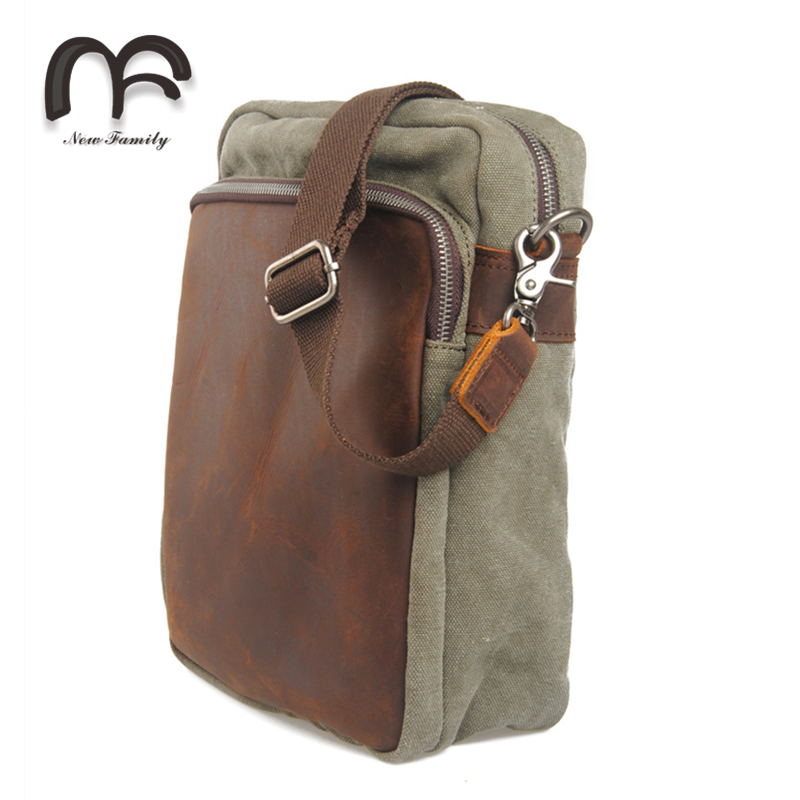 Hot selling women and men canvas messenger bag large capacity waterproof canvas crossbody bag 100% crazy horse leather min bag(China (Mainland))