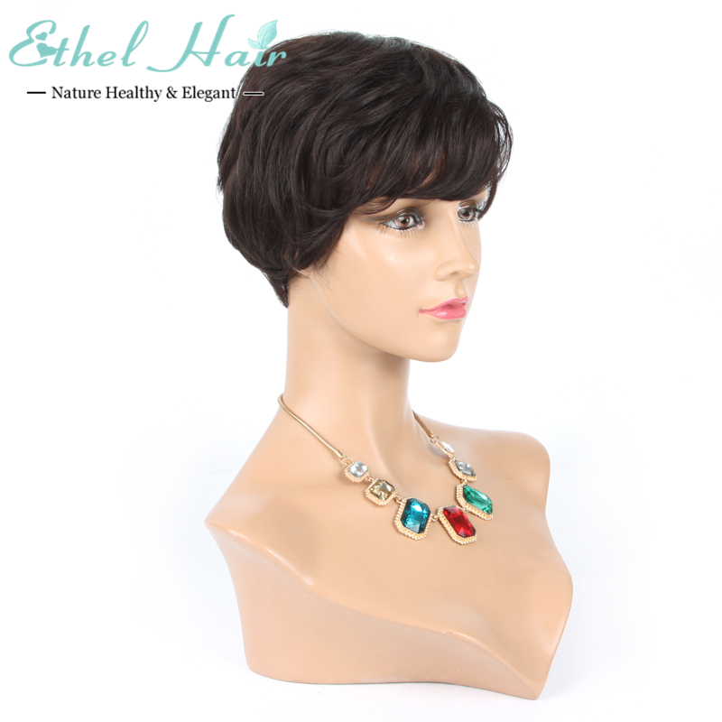 Фотография Short Straight glueless full lace human hair wigs for black women cheap lace front wig with baby hair 130% density 7A stocked