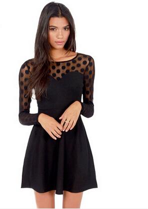 Winter dress European and American fashion style black Lei Sibo point stitching round neck long-sleeved women dress(China (Mainland))