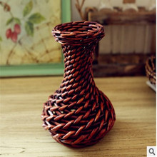 Home Furnishing Small Basket Crafts Rattan Flower Pot Vase Home Decoration(China (Mainland))