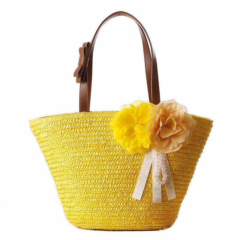 2016 Summer Women Handbag Beach Shoulder Bag Flower Shopping Totes Straw Woven Hand Bags For Women Bow Bag Free Shipping JXY351(China (Mainland))