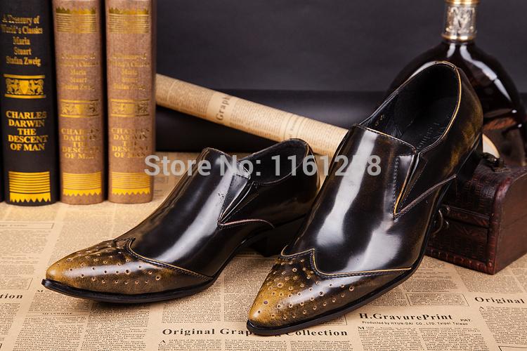 Plus Size US6-12 Genuine Leather Men Shoes Slip-on dress Shoes Handmade classic wedding dress shoes<br><br>Aliexpress