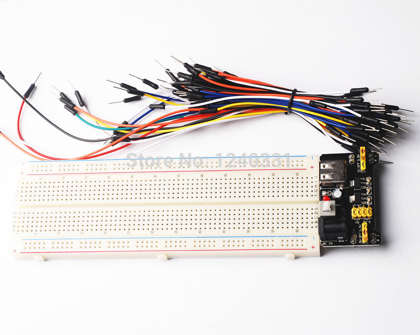 3.3V/5V MB102 Breadboard power module+MB-102 830 points Prototype Bread board for arduino kit +65 jumper wires wholesale(China (Mainland))