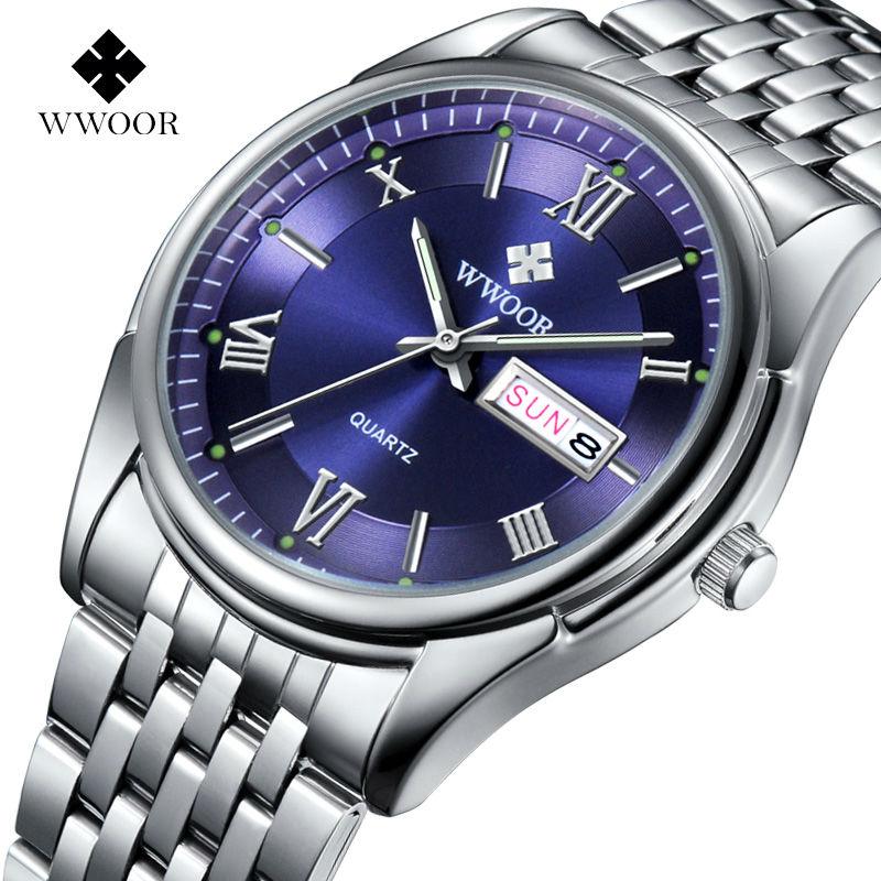 WWOOR Luxury Brand Genuine Leather Strap Analog Display Date Men's Quartz Watch Business Watch Wristwatch relogio masculino 8802