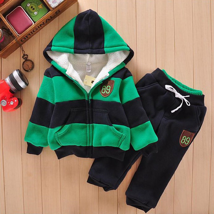 Boys Girls Children Hoodies Winter Wool Baby Plaid Sports Suit New Jacket Sweater Coat & Pants Thicken Kids Clothes Sets - Ba Li E-Commerce Co., Ltd Store store
