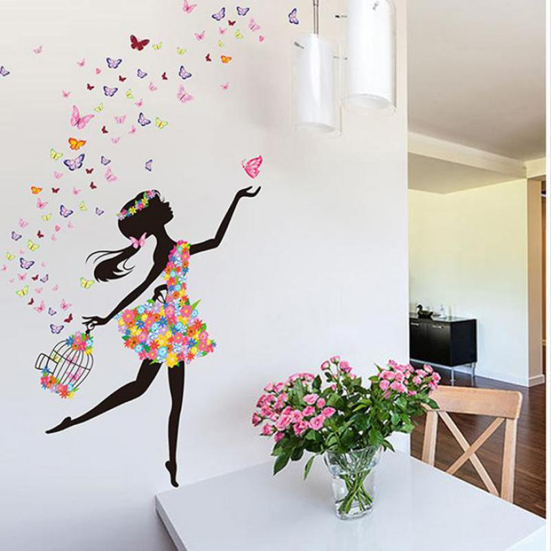 personality fairies girl butterfly flowers art decal wall 3d butterfly flowers wall sticker for kids room bedroom