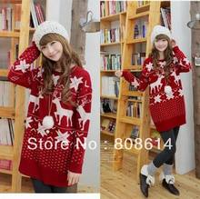Hot Red Reindeer Snowflake Lady Womens New Ugly Loose Knitted Sweater Jumpers Pullovers Free Shipping