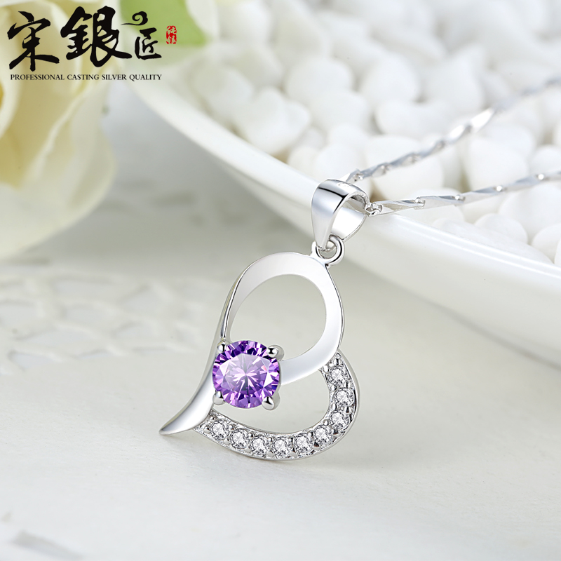 Free shipping Silver 925 silver necklace female crystal pendant long jewelry heart short design accessories girlfriend gifts(China (Mainland))