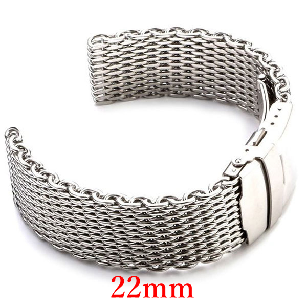22mm Watchband Strap Hours Silver Color Stainless Steel Mesh Elegant Bracelets Men Women Watch GD010722 - Guangzhou Conbays Technology Co., Ltd. store