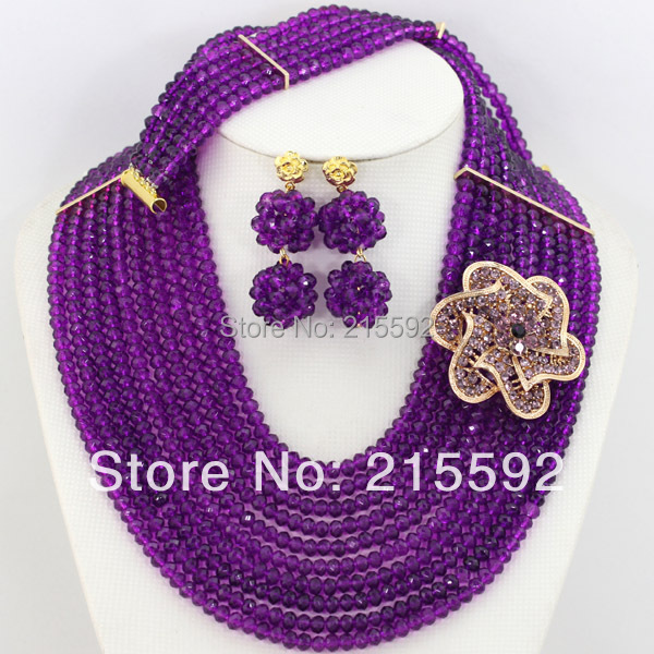Fashionable African Beads Jewelry Sets Purple Crystal Beads Jewelry Set Nigerian Wedding Bridal Necklace Jewelry Set AJS264(China (Mainland))
