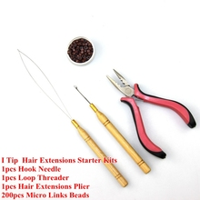 Silicone Micro Rings Micro Links Hair Beads+Hook Needle+Loop Threader +Extensions Plier For I Tip Hair Extensions Starter Kits(China (Mainland))