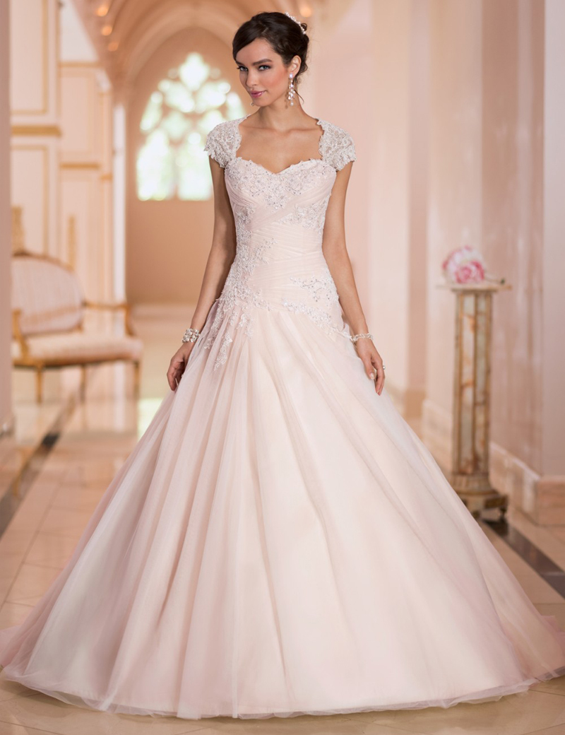 2015 stella york wedding dresses a line sweetheart peplum for Lace cap sleeve keyhole back wedding dress