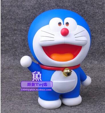 80 anniversary 17cm waving Doraemon cat robot Anime PVC action figures Japanese cartoon models birthday gift free shipping(China (Mainland))