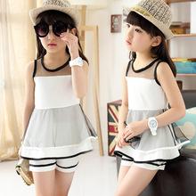 teenage girl set 2015 girl summer boutique clothing set children sleeveless white black outfits patchwork vest+shorts 2pcs/sets(China (Mainland))