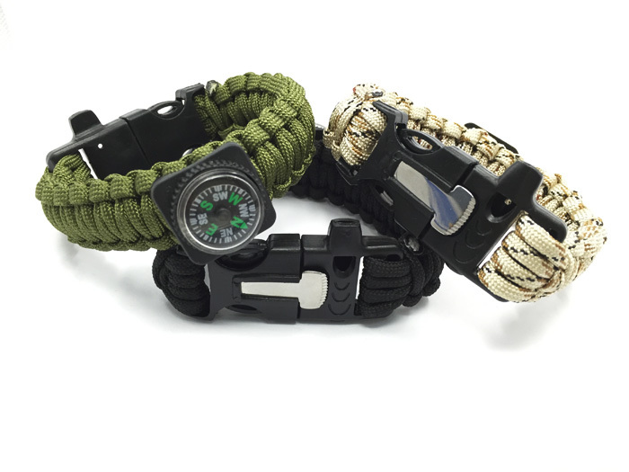 Outdoor Camping Men Compass Whistle Paracord with Fire Starter Survival Bracelet Rope Kit with Flint Whistle
