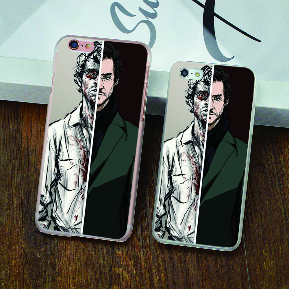 some sort before after Hannibal Transparent Black White Skin hard case cover phone cases for iphone 4 4s 5 5s 5c SE 6 6s 6splus(China (Mainland))