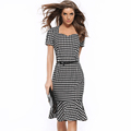 2016 Houndstooth Women Office Dress Fishtail Pencil Dress with Belt