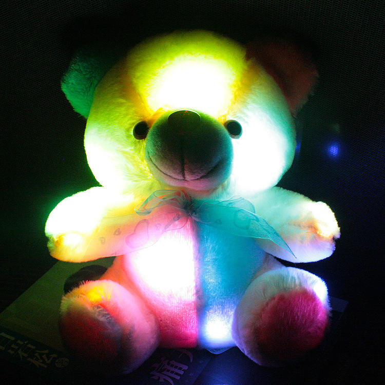 New hot 20 cm colorful glowing teddy bear luminous plush toy for Girl Children's Baby Birthday Gift Send Kids Lovely Soft Toy(China (Mainland))