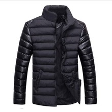 Hot sale winter jacket men 2015 fashion solid stand collar jackets coats casual winter coat men