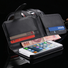 Luxury Vintage Flip Card Slot PU Leather Modern Black Cell Phone Case For iphone4 4S Full Wallet Pouch Bag Cover For iphone4 4S(China (Mainland))