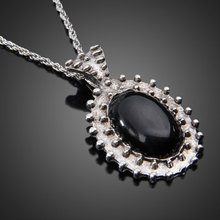 Fashion Retro Silver Ellipse Black Jewlery Girls Long Sweater Necklace TH88