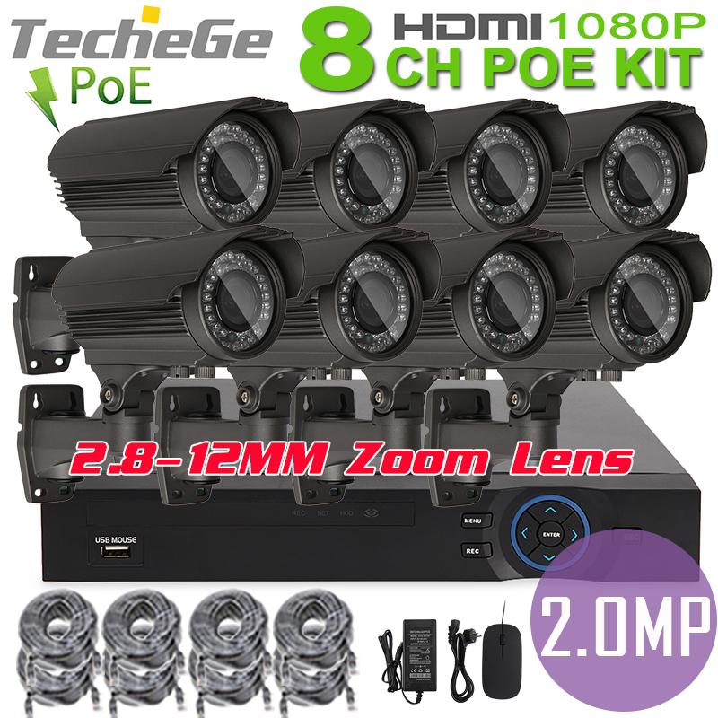 Здесь продается  8CH 1080P POE NVR HDMI 48V POE NVR 8PCS  2.0mp PoE IP Camera 2.8-12mm varifocal lens P2P Cloud  video surveillance system  Безопасность и защита