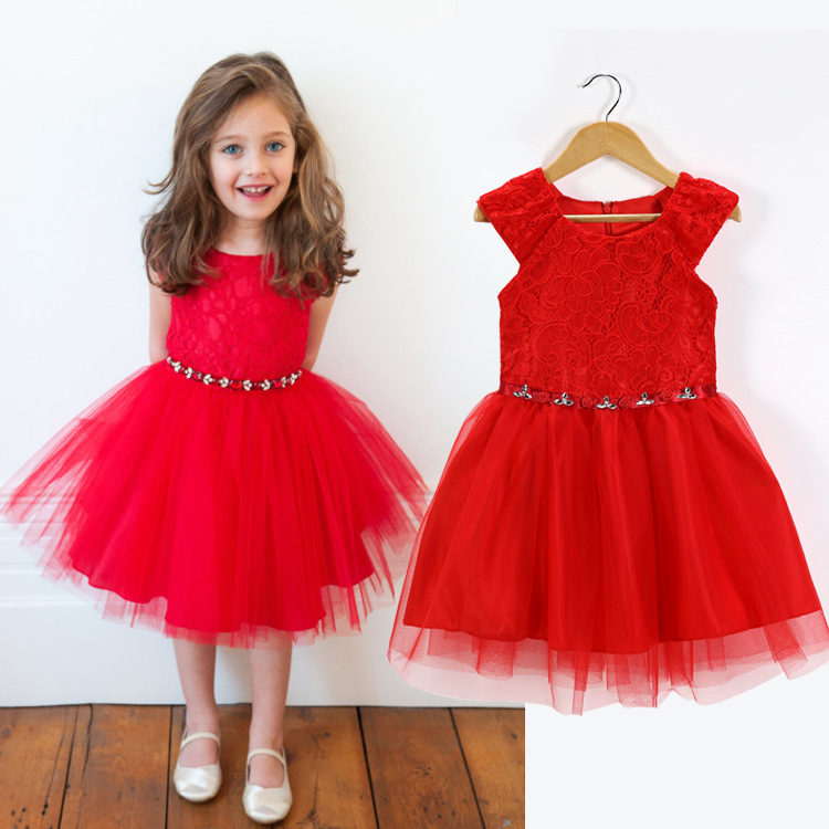 2015 Summer Style princess lace pattern girls dress children's clothing,girl party dress,baby wedding dress,fancy girl dresses(China (Mainland))