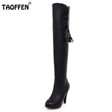 Buy Ladies Spike High Heel Knee Boots Women Fashion Round Toe Heels Shoes Woman Brand Winter Bootines Mujer Size 34-43 for $29.87 in AliExpress store