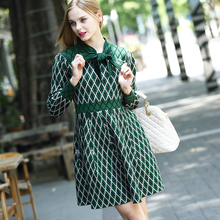 New Arrivals 2016 Spring Autumn brand design high quality Knitted Dress Ladies Fashion Long Sleeve Plaid Sweater Dresses#15139