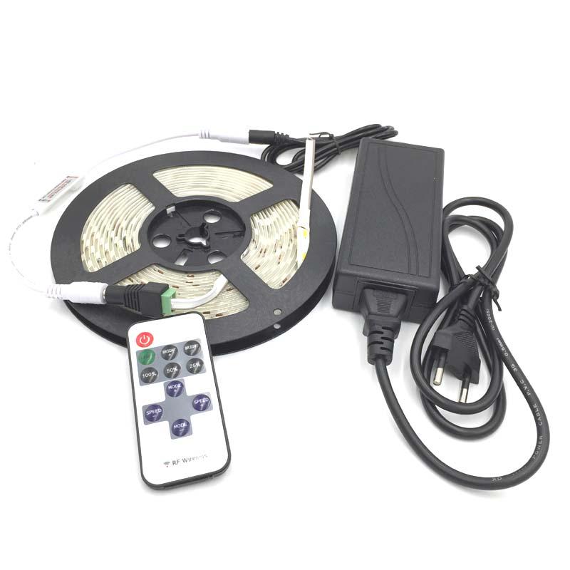 LED Strip 300 leds 5m 5630 Waterproof led light white warm white blue + 12v 5a Power adapter + 11 Keys RF Controller + DC(China (Mainland))