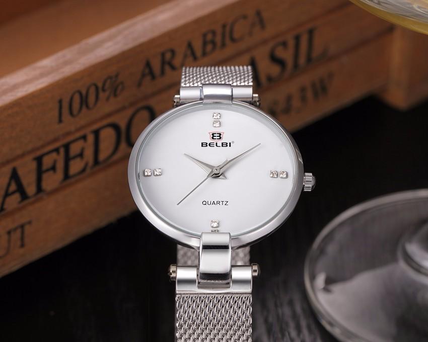 Женщины Кварцевые Часы Люксовый Бренд BELBI Часы Мода Черный Нержавеющей Стали Часы Женщины Элегантное Платье Наручные Часы Relojes 2016