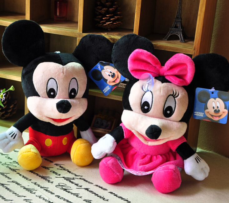 1pairs 20cm Lovely Mickey Mouse And Minnie mouse plush Animal Toys,Mickey And Minnie plush dolls for best Gifts Free Shipping(China (Mainland))