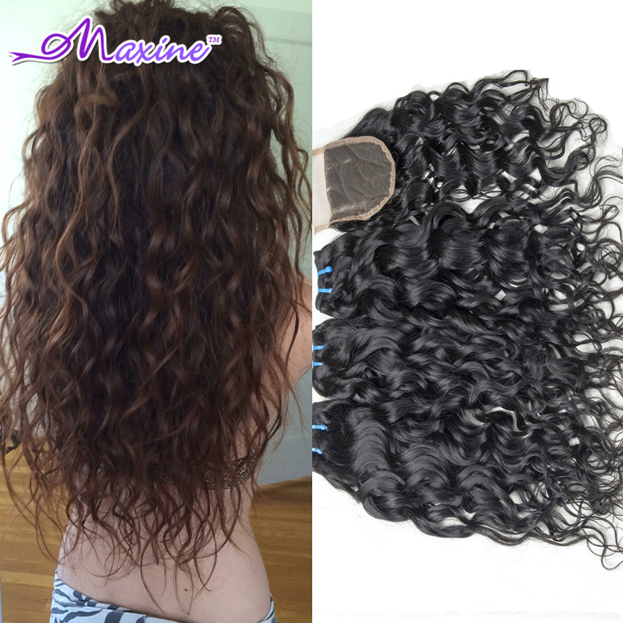 Unprocessed Brazilian Water Wave Virgin Hair 3/4 Bundles With Closure Brazilian Virgin Hair With Lace Closure Rosa Hair Products