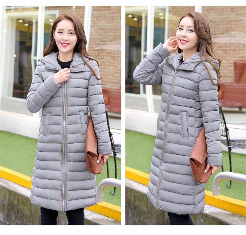 Скидки на 2016 Новый зимний перо мягкий Девушки длинный участок Корейской версии Тонкий Капюшоном куртки пальто большой размер