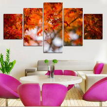5 Piece Hot Sale Maple Leaves Painting Modern Wall Interior Decoration Landscape Wall Art Canvas Prints Photo Paint On Gifts(China (Mainland))
