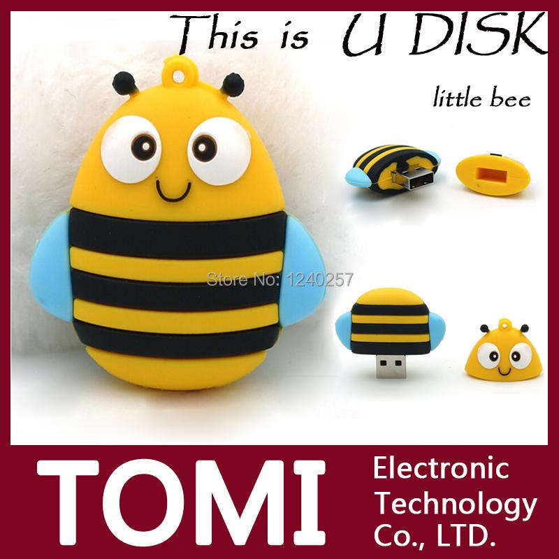 USB Flash Drive 64G Pen Drive 32GB Pendrive 16GB 8GB 4G New Style Hot Sale Little Bee Model Pendrive USB2.0 U Disk Free Shipping(China (Mainland))