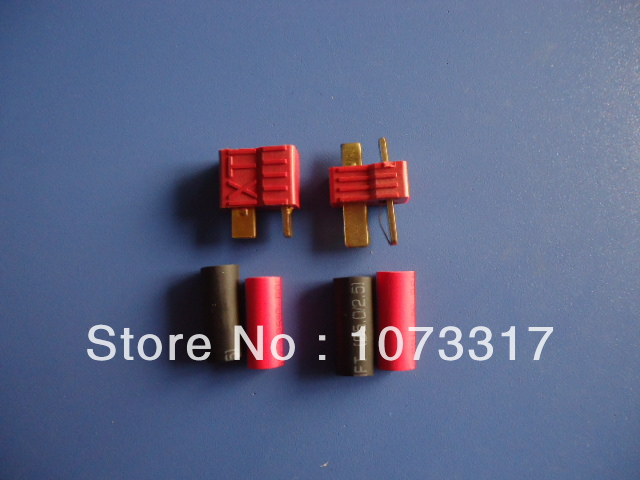 20 Pairs RC Connector T Plug( Male &amp; Female ) + Shrink Tubing / Red / skid resistance / golden High Current  Free Shipping<br><br>Aliexpress