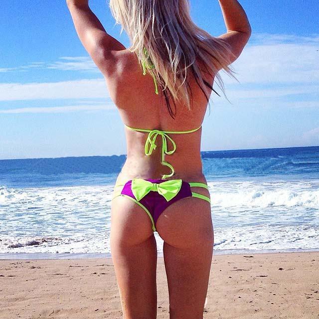 Brazilian Thong Bikini Set  Women Bow Cut Out Bottom Triangle Swimwear Push Up Swimsuit  Bathing Suit Sexy Biquine(China (Mainland))