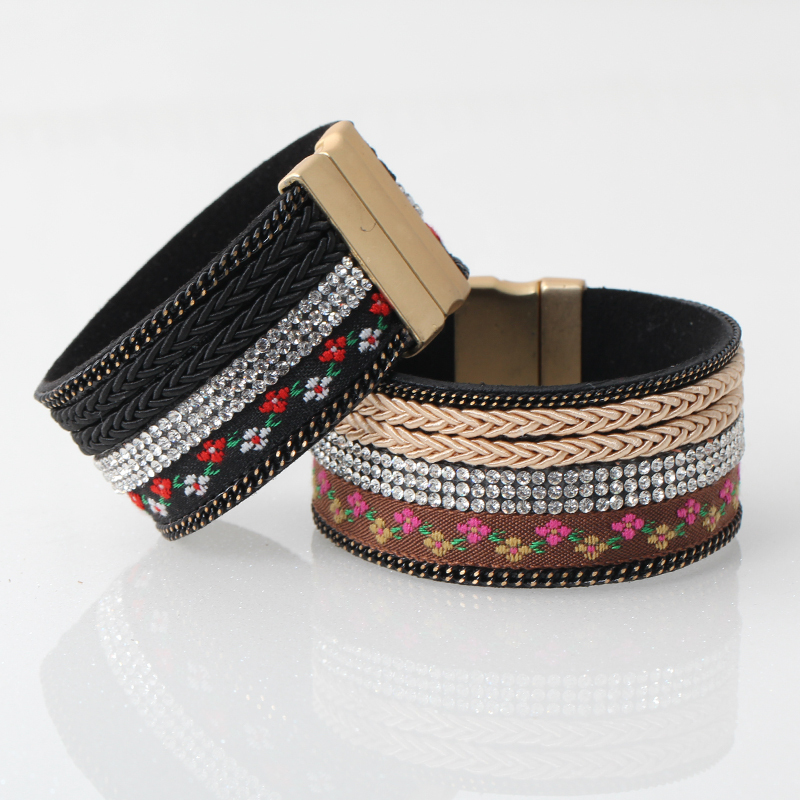 2015 brand new bracelets bangles women metal alloy gold leather bracelet jewelry pulseira wholesale AM1503010(China (Mainland))