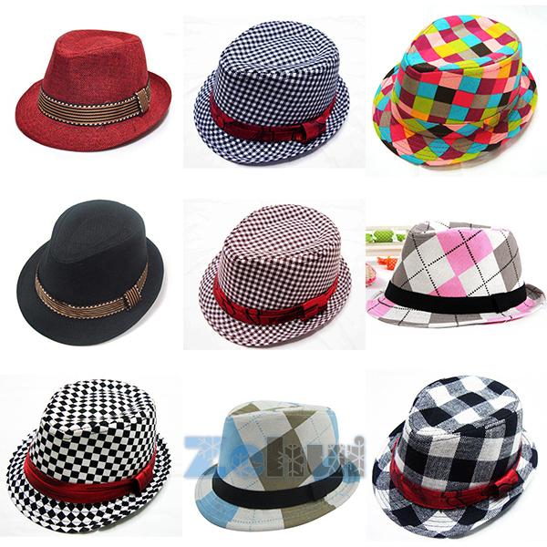 25 Styles Baby Kids Children's Fedora Hats Chic Jazz Photography Cotton Cap 2-6Y(China (Mainland))