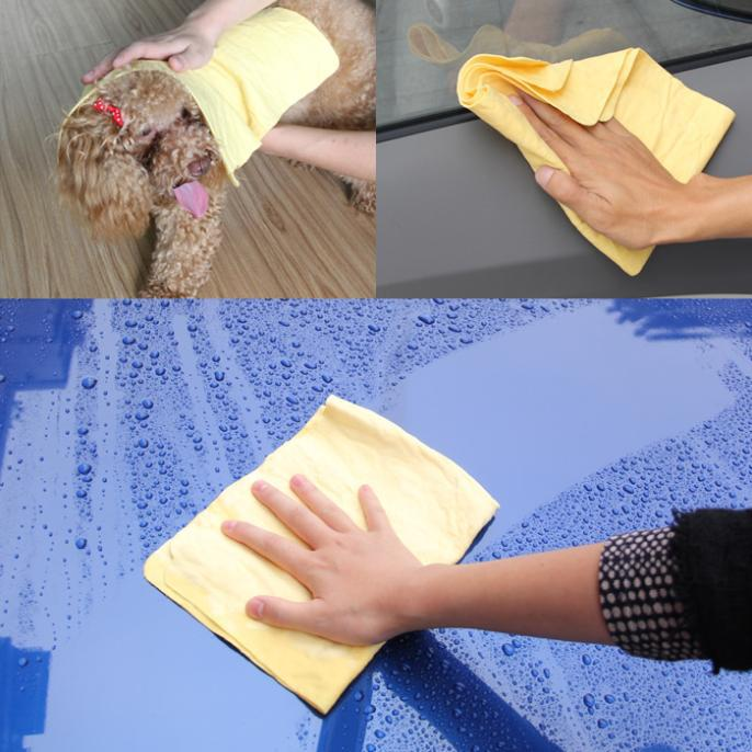 42cm*32cm Small car washing supplies synthetic suede towel deerskin towel absorbent pads chamois cloth free shipping 2013 new(China (Mainland))