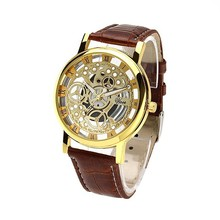 Fashion Men's women Quartz imitation Mechanical Hand Wind Hollow out Big dial Leather strap watches