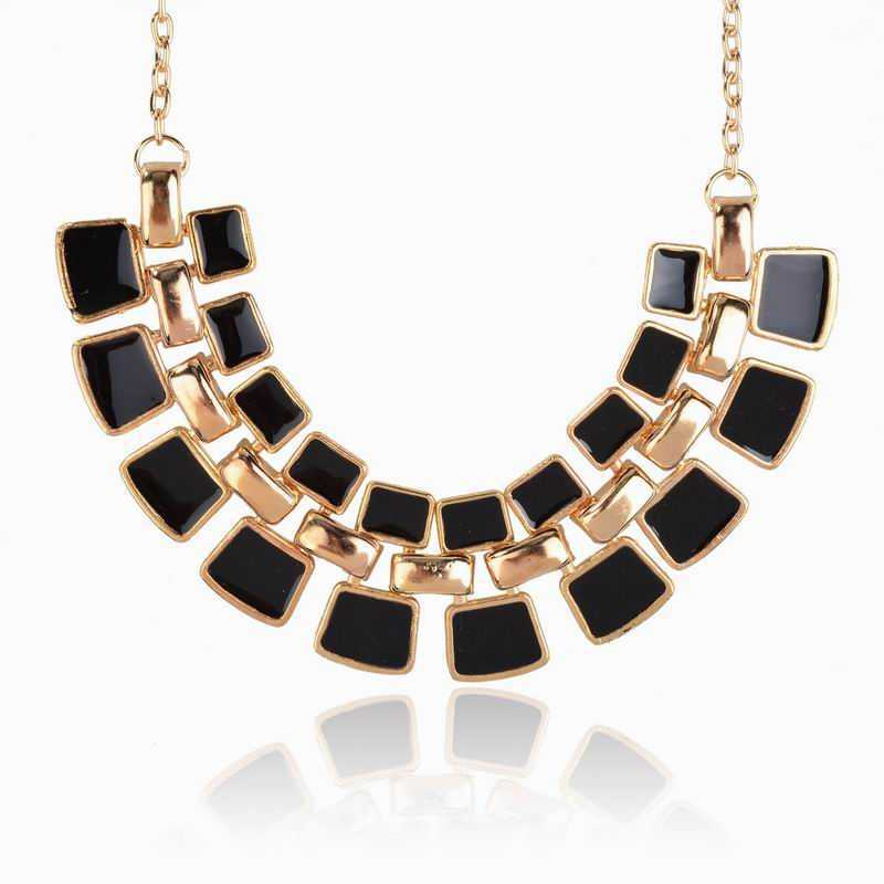 2015 Trendy Necklaces Pendants Link Chain Collar Long Gold Plated Enamel Statement Bling Fashion Necklace Women