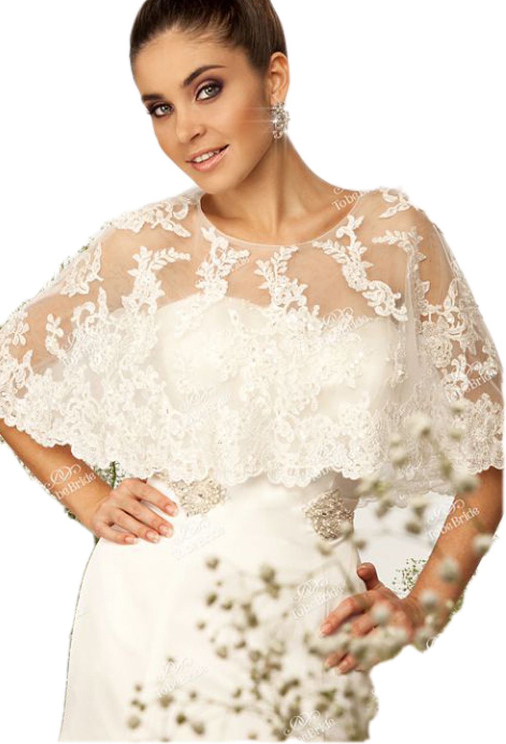 Appliqued lace white wedding bridal boleros wedding jacket for Womens dress jacket wedding