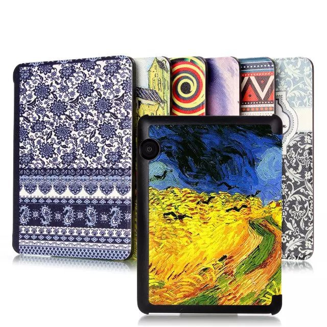 Ultra thin Colorful Oil Painted Style Magnet Leather Fashion Case Smart Cover For Amazon Kindle Voyage(China (Mainland))