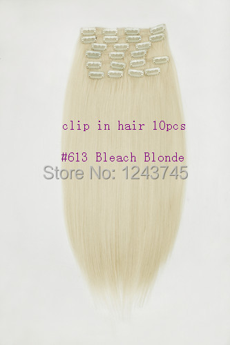 New 2014 mac make up Long #613 Bleach Blonde 100% resistance to high temperature Synthetic Clip In Hair Extensions 10 PCS 160g(China (Mainland))
