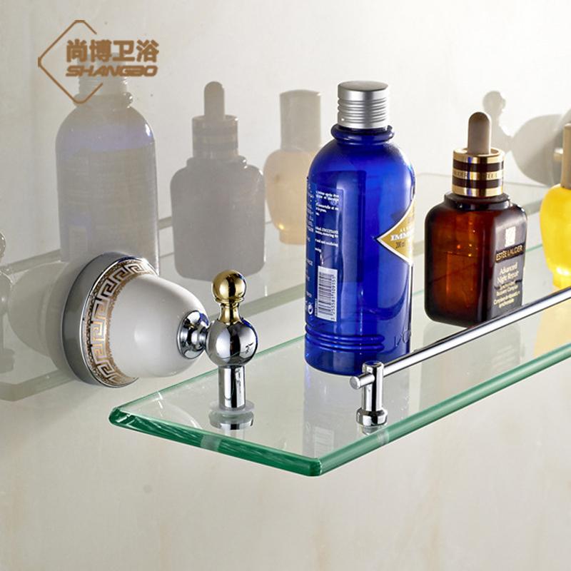 Chrome Free shipping Copper single tier bathroom accessories dressing table glass shelf fashion luxury gold platedGJ-5513L(China (Mainland))